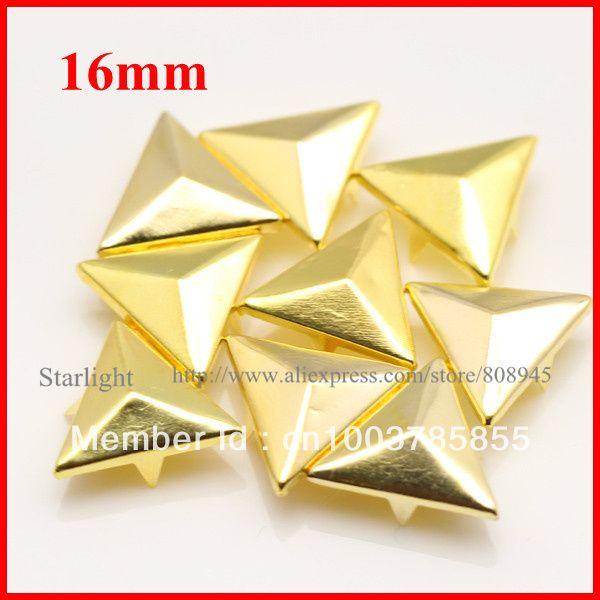 Barato Atacado 16 MM triângulo Gold Metal chapeado Cone rebites Studs e Spikes para roupas sapatos star15, Compro Qualidade Rebites para Roupas diretamente de fornecedores da China:
