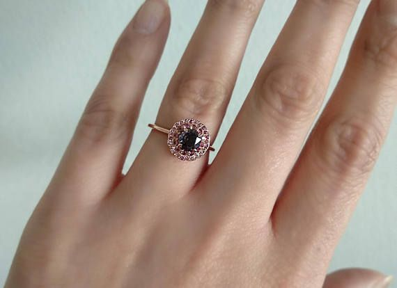 14K Rose Gold Round Spinel Engagement Ring Sapphire ring