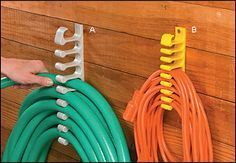Hose & Cord Holders - Gardening. Helps hoses & extension cords unravel without tangling. Hose holder is $12.95 & Extension Cord Holder is $9.95