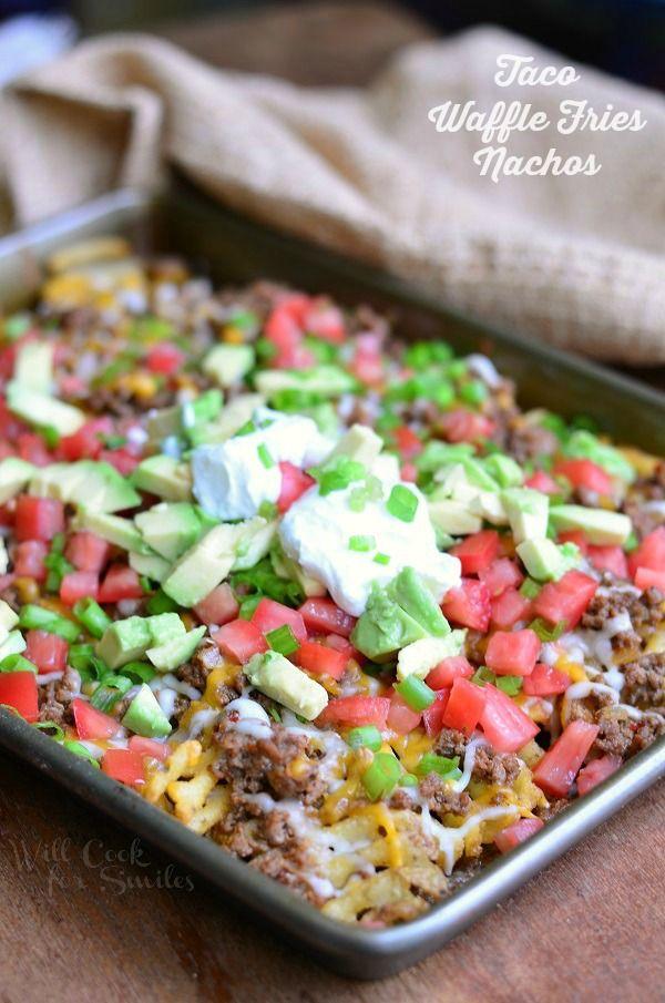 Taco Waffle Fries Nachos | from willcookforsmiles.com
