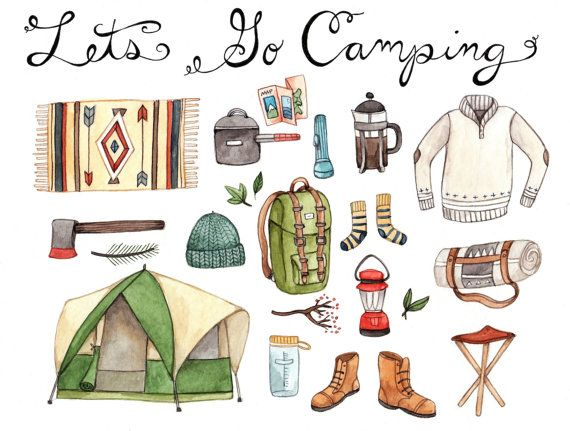 Let's Go Camping Print 8.5x11 by thelittlecanoe on Etsy