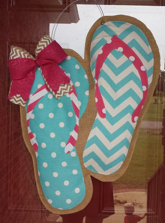 Flip Flop Chevron and Polka Dot Burlap Door Hanger by LoopDLoos