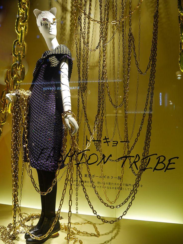 "ISETAN,Shinjuku,Tokyo, Japan,  ""FASHION-TRIBE .....ON THE CHAIN"",close-up, pinned by Ton van der Veer"