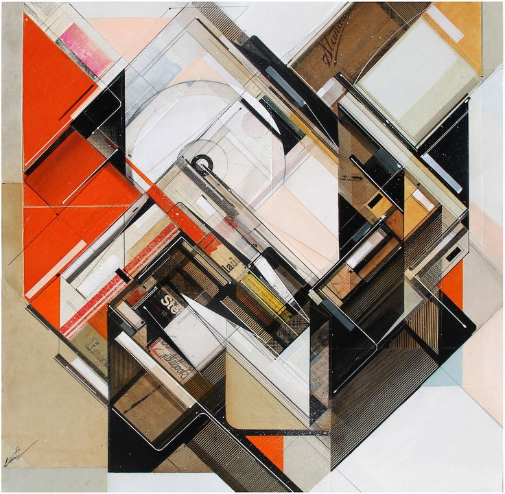 Geometric Collages Created From Layers of Vintage File Folders and Index Cards