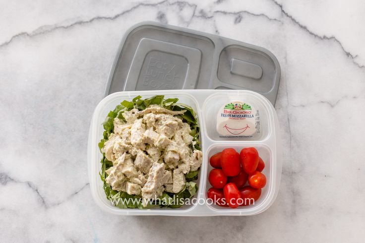 Easy grown up packed lunch and 100 other non-sandwich lunches from WhatLisaCooks.com - pesto chicken salad