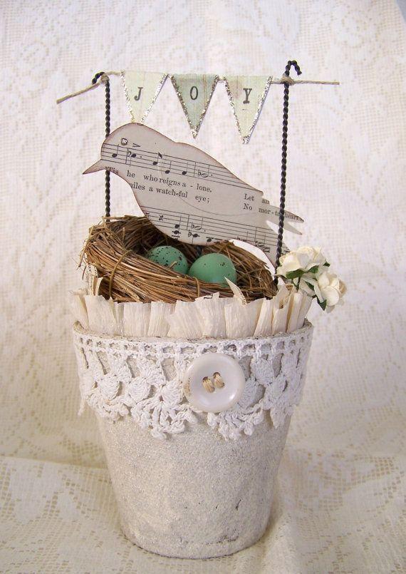 Handmade Spring Shabby White Peat Pot