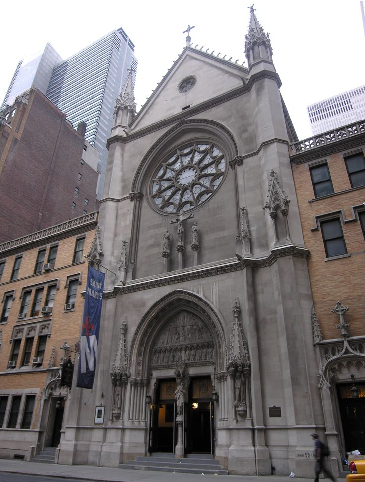 St. Mary the Virgin (Built 1894-1895) was founded as a parish of the Episcopal Diocese of New York in 1868 by the Reverend Thomas McKee Brown. The church's name and its liturgy followed that of the Oxford Movement, or Anglo-Catholicism, which had devoted followers like John Jacob Astor III. Astor gave three contiguous plots of land for the building of the first church of that name In New York City. The first building was nearby, on West 45th Street, now the site of the Booth Theatre