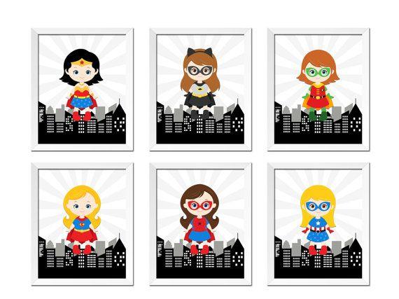 Superchicas superhéroe niñas rosa y gris conjunto de pared 6