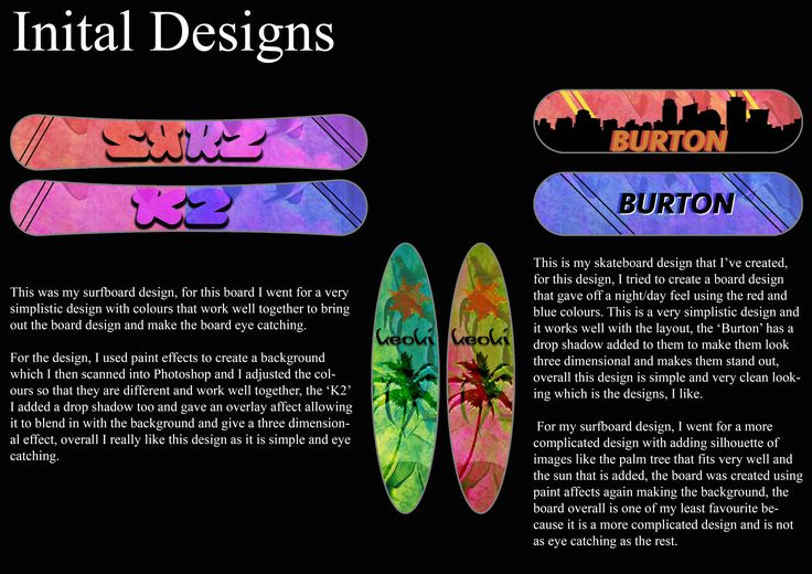 Board Project BookWork Page 7 Initial Designs