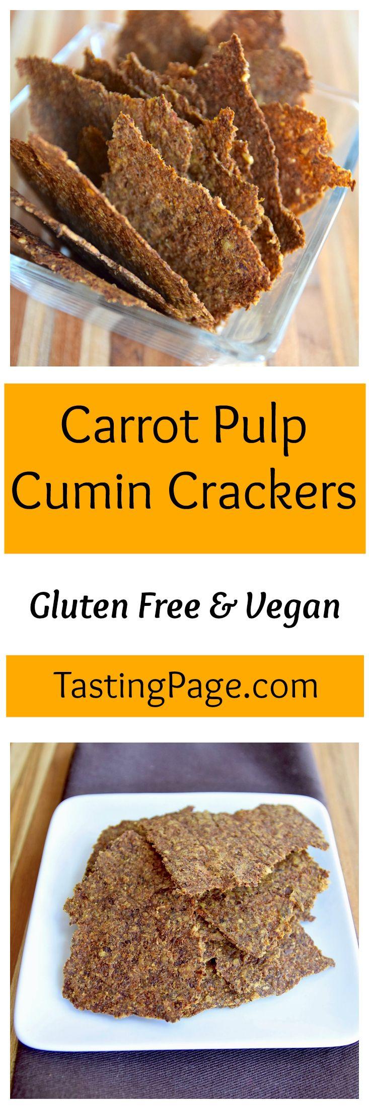 Carrot pulp cumin crackers - a healthy, homemade snack that's gluten free & vegan | TastingPage.com
