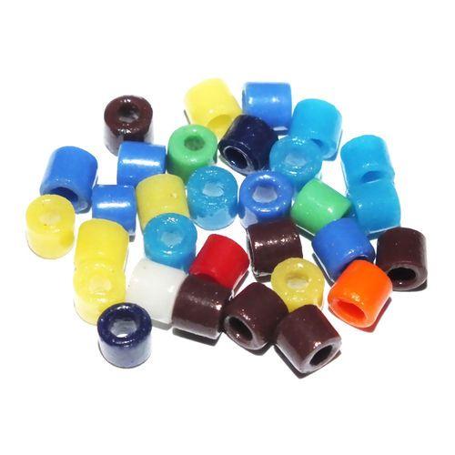 30 Glasperlen Walzen 6mm · Mix Multicolor · pe5125