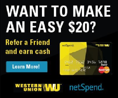 Go to the link below and sign up for your Western Union Prepaid Mastercard, activate it, load $40 on it to receive $20 giving you a balance of $60.  When you refer all others to do the same you get $20 per referral.  Refer 100 people in a week and get $2000 per week.  I do.   www.wunetspendprepaid.com/prepaid-debit-card/applyNow.m?AID=w_raf&uref=2086369923