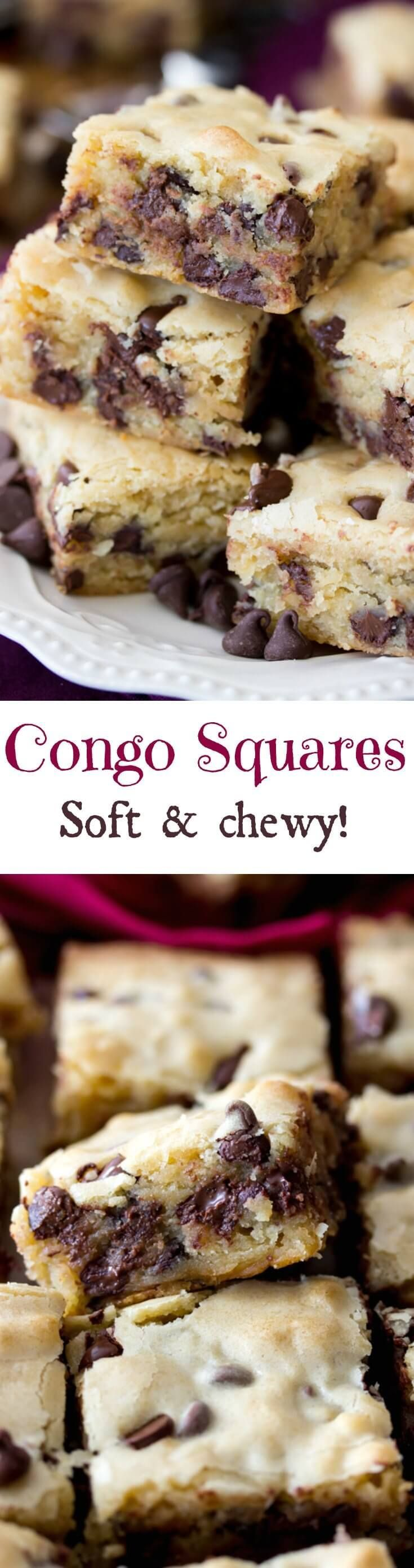 Soft & chewy Congo Squares -- the best chocolate chip cookies in a pan!    Sugar Spun Run