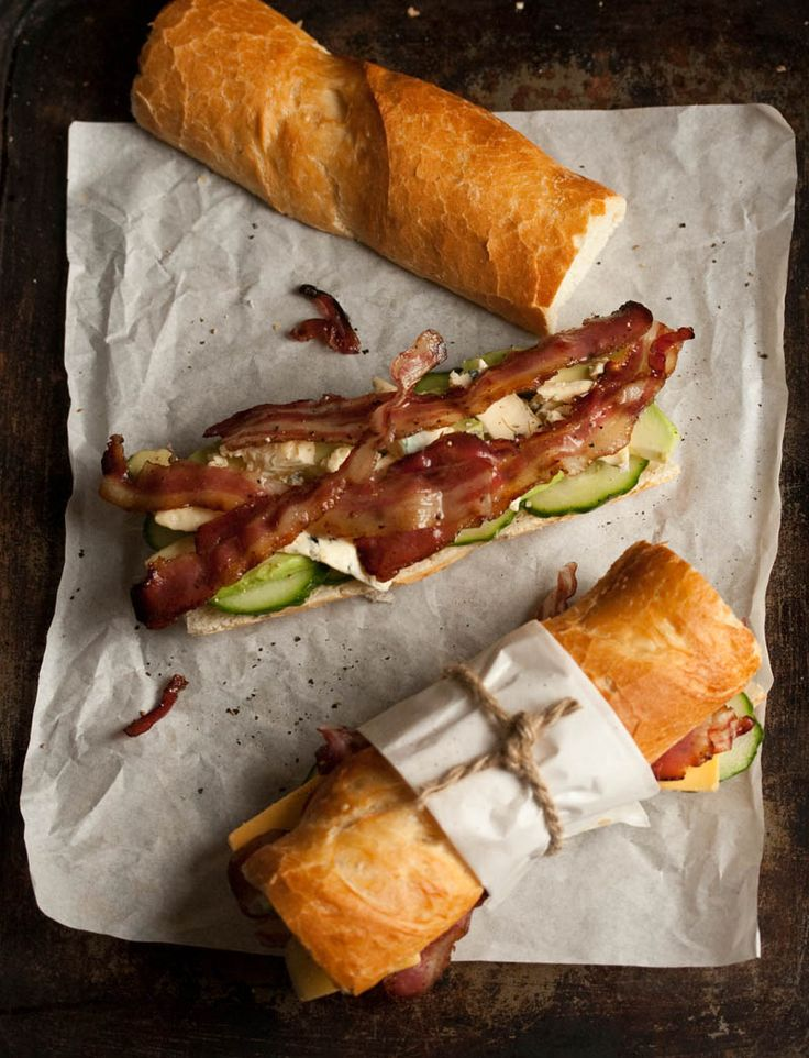 Bacon, blue cheese and avocado baguette sounds perfect for a sunny April picnic.