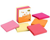 Post-it® Super Sticky Notes in 3 in x 3 in let you put your note where it'll get noticed like file cabinets, doors and walls. Notes stick securely and remove cleanly. The Bangkok Color Collection mixes up a number of Asian influences to create a spicy assortment of colors. 5 Pads/Pack, 90 Sheets/Pad.