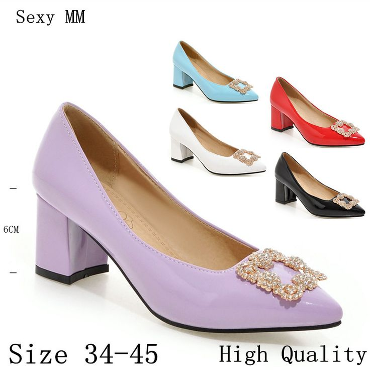 >> Click to Buy << Square High Heels Ladies High Heel Shoes Women Stiletto Woman Party Wedding Shoes Kitten Heels Plus Size 34-40.41.42.43.44.45 #Affiliate