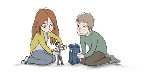 little versions of the girl who waited, the boy who waited, and their raggedy doctor.