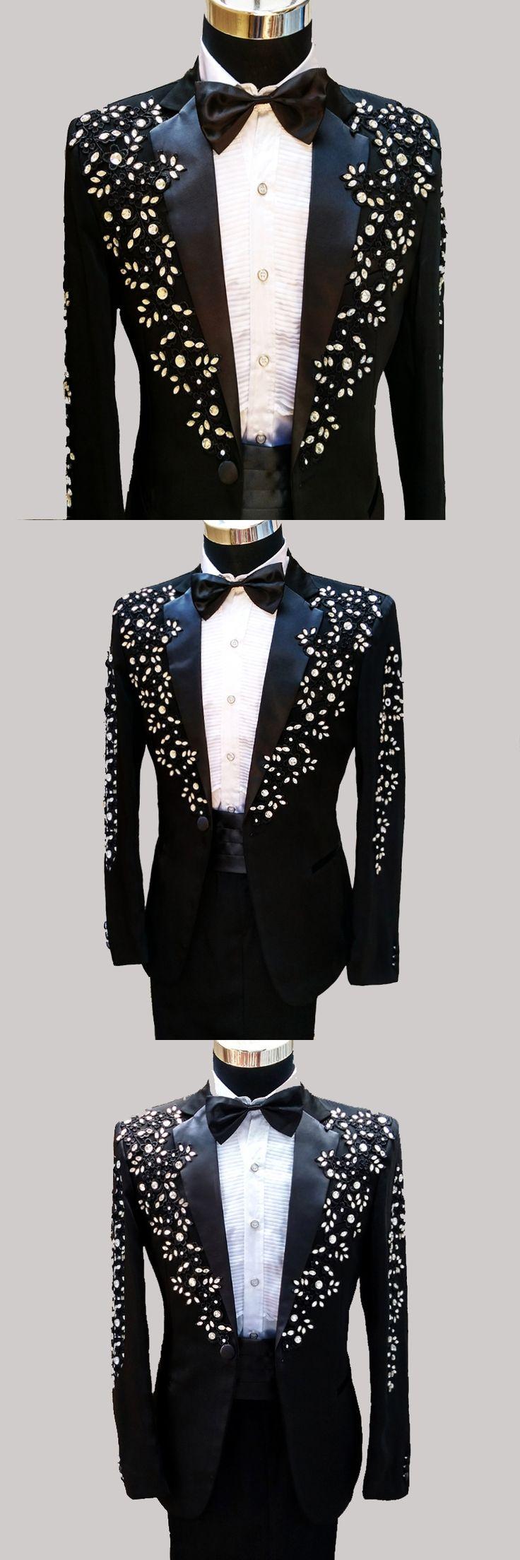Latest Coat Pant Designs Black Groom Tuxedos Appliqued Rhinestones Mens Wedding Suits Performance Costumes(Jacket+Pants+Girdle)