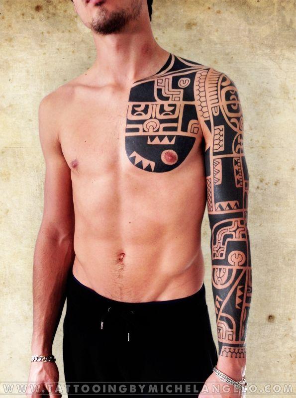 Manica pettorale schiena marchesana stile marchesano blackwork Tattoo by Michelangelo Tribal tattoos Tatuaggi tribali