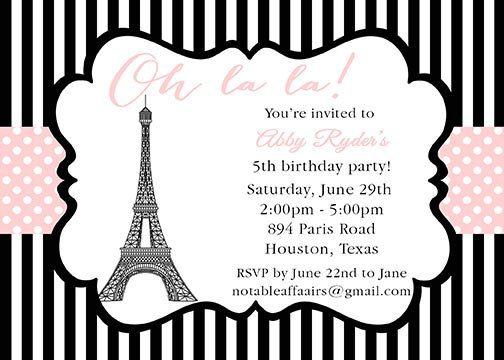 Oh la la paris party theme invitation black pink stripes for Dots and stripes party theme
