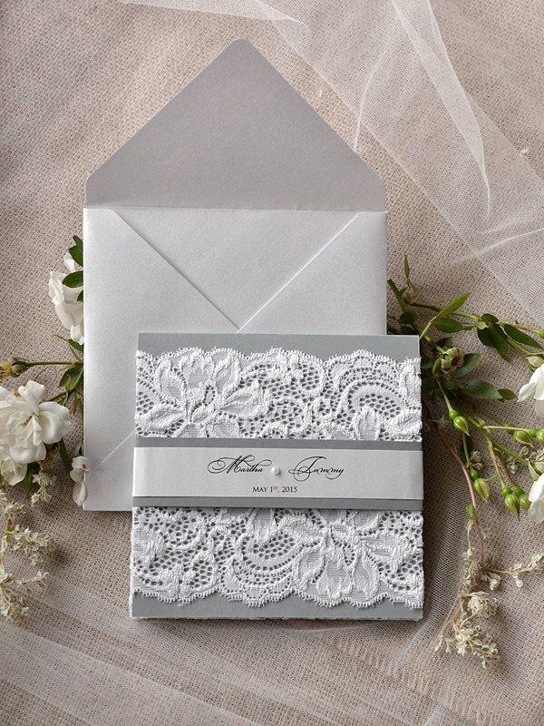 Custom Listing Silver and Grey Wedding Invitation