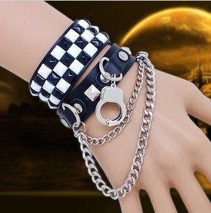 Punk classic grid leather bracelets punk jewelry fashion leather belt couples jewelry | Tophandmade - Jewelry on ArtFire