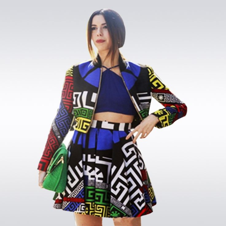 Top Fashion Women Spring Autumn Plus Size Casual 2 Pieces Set Long Sleeve Blouse+Mini Skirt Geometric Slim Runway Large Twin Set