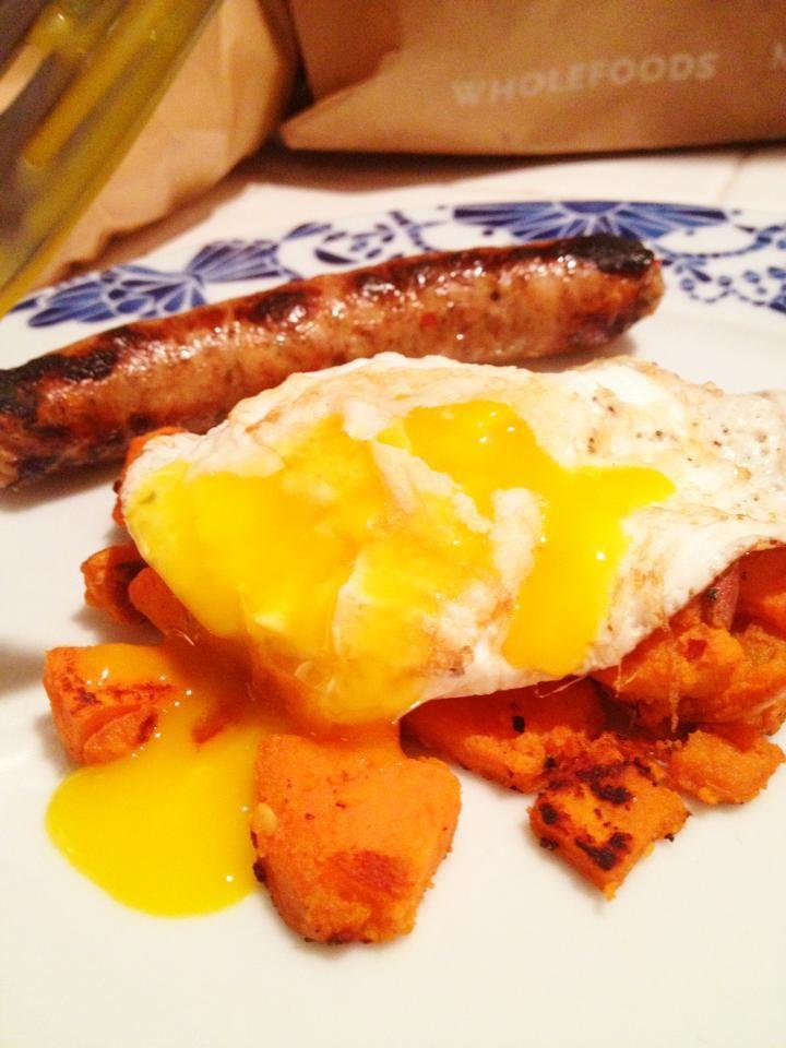 Fried Egg w/ Sweet Potatoes & Chicken Apple Sausage: Sweet potato ...
