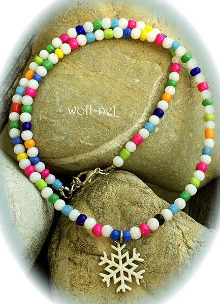 """Perlenketten - Halskette, Jade-Perlen, weiß mit Charm """"MANON"""" - ein Designerstück von woll-net bei DaWanda"""