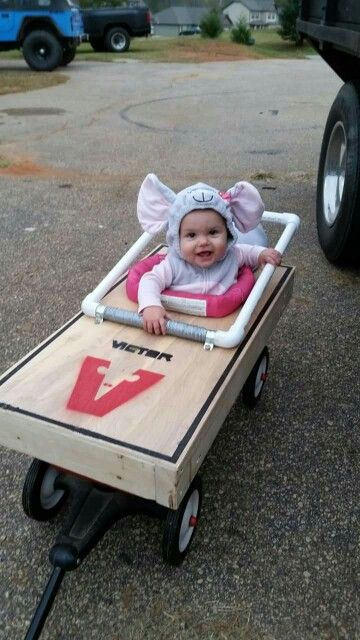 Mousetrap baby costume in a wagon