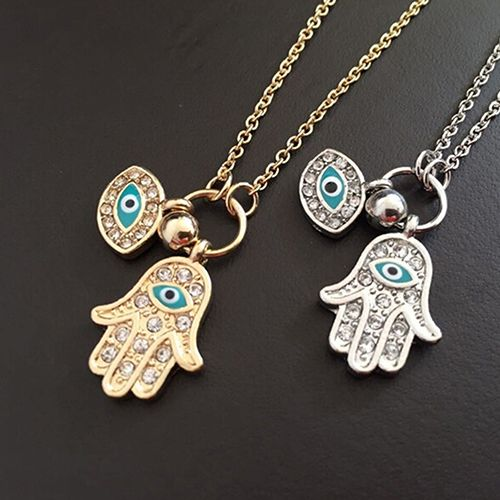 Fatima Hamsa Hand Necklace Blue Evil Eye Chain Pendant Lady Jewelry Charm