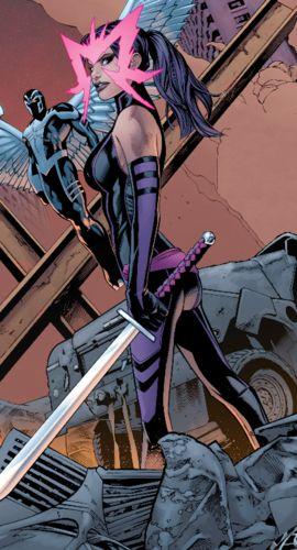 AKA Psylocke Twin sister of Captain Britain, a.k.a. Brian Braddock. Has served as a field leader. Killed by Vargas in X-Treme X-Men #2 (2001). Returned in Uncanny X-Men #455 (2005). Originally Caucasian, but the Hand switched her body with the Asian Revanche, which changed and expanded her powers. Exchanged powers with Jean Grey through unexplained means. Briefly abducted by Madelyne Pryor and brainwashed as a member of the Sisterhood of Mutants. Former member of the Exiles.