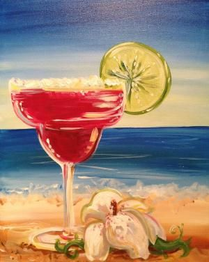 Splash Painting Studio.  We learn how to paint this picture of a margarita and drink!  This is at 1 PM on sunday