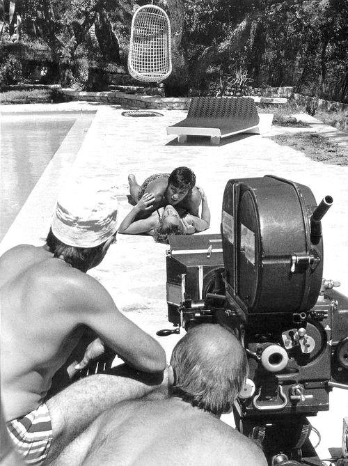 Alain Delon, Romy Schneider, La piscine, 1969.