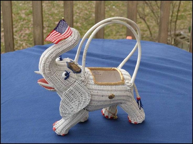 Vintage Patriotic Elephant Purse Rattan Wicker
