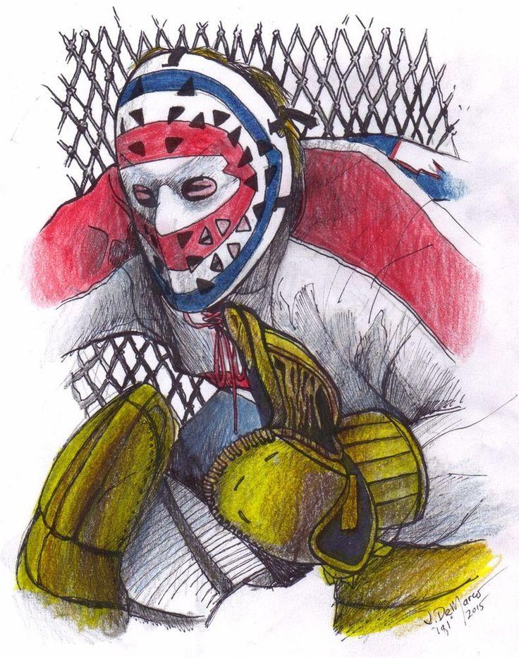Original Ken Dryden Vintage Hockey Goalie Drawing Framed