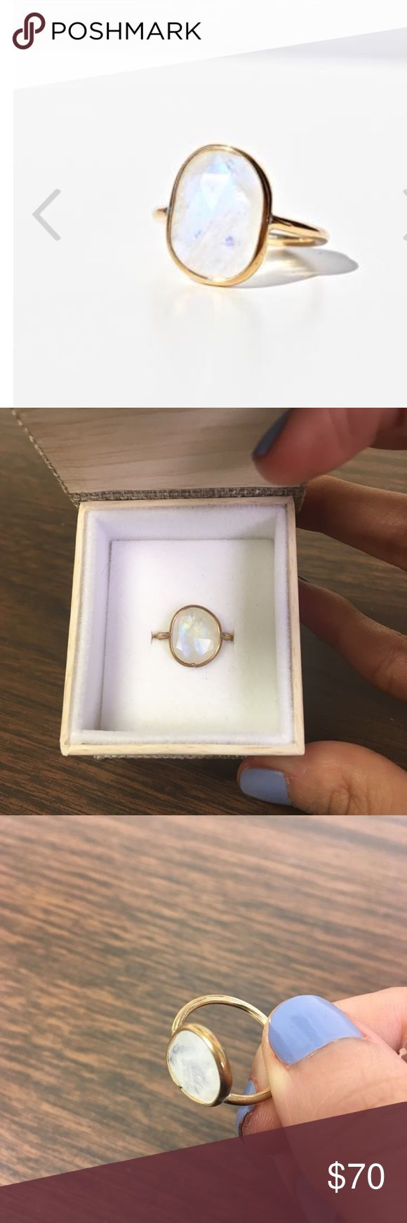 Lili Claspe moonstone ring Selling cheaper elsewhere. This is authentic Lili Claspe, it's a size 5, true to size. I have lots of LC jewelry and this has been the only gold item that I've seen the gold discolor and come off. Nothing major, but that's why I'm selling—check the pics there's some fading in the color and one small spot where there looks like a bit of the gold faded off. The stone itself is beautiful. lili claspe Jewelry Rings