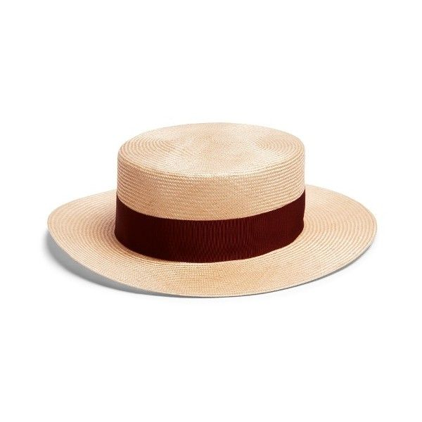 Federica Moretti Panama straw hat ($137) ❤ liked on Polyvore featuring accessories, hats, beige multi, panama hat, beige hat, straw hats, travel hat and travel panama hat