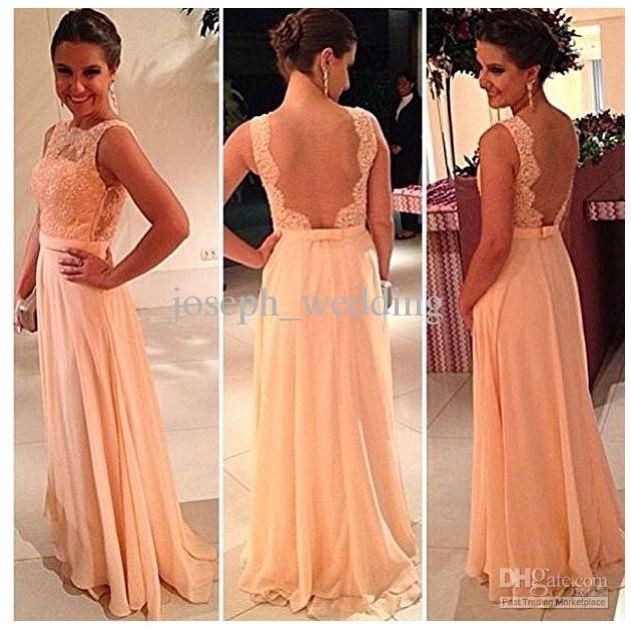 Long peach chiffon and lace bridesmaids dress