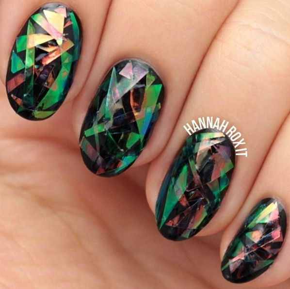 Shattered Glass Nails (using cellophane)