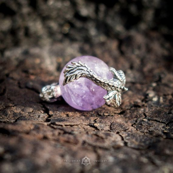 Dragon's Jewel #Silver #Pendant with Sphere #Amethyst Crystal  Dragons represent primal forces in Nature and Universe, and usually possess some form of magic or supernatural p... #etsy #symbol #amulet #amethyst #crystal #pendant #silver #mineral #necklace
