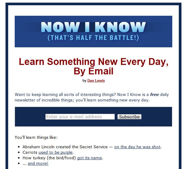Now I Know: Learn Something New Every Day, By Email