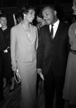 Lena Horne and the Rev. Dr. Martin Luther King, Jr. at a party Ms. Horne gave in Dr. King's honor in New York in 1963. Photo by Steve Schapiro.