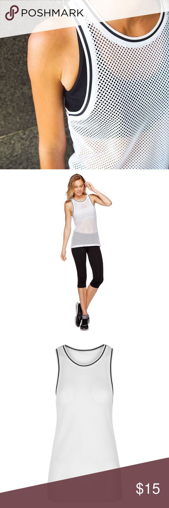 """Lorna Jane """"Socialite"""" Mesh Tank Lorna Jane white """"Socialite"""" tank, size medium. Bought from another posher NWT and wore once. Should have got a size smaller (yay for losing weight!). Lorna Jane Tops Tank Tops"""