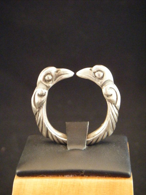 Viking Odins Raven Torc Ring in Sterling by CelticVikingJewelry