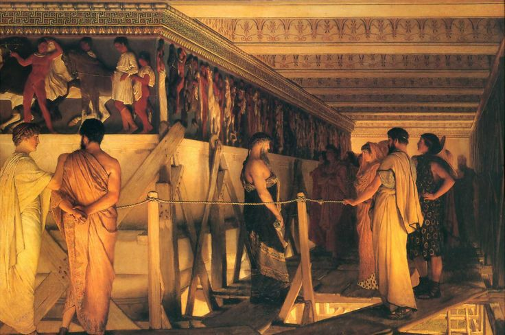 """Phidias Showing the Frieze of the Parthenon to his Friends"", 1868, by Sir Lawrence Alma-Tadema (Dutch, 1836-1912)."