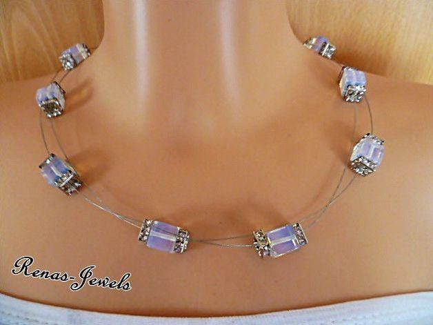 Ketten kurz - Opalith Kette zweireihig Würfel Perlen - ein Designerstück von Renas-Jewels bei DaWanda