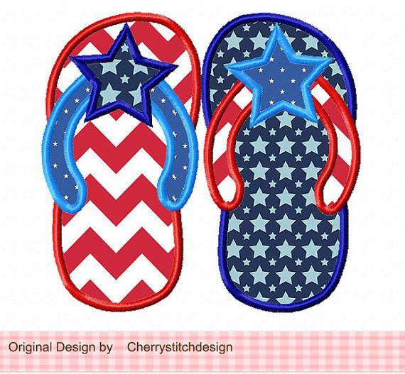4th of July flip flops -patriotic digital applique -4x4 5x7 6x10-Machine Embroidery Applique Design
