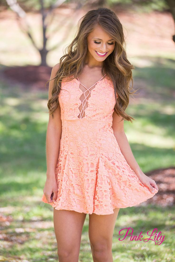 The Pink Lily - Passionate Peach Lace Dress CLEARANCE, $20.00 (https://pinklily.com/passionate-peach-lace-dress-clearance/)