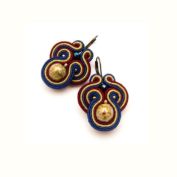 Baroque small soutache earrings glam retro by MANUfakturamaanuela, $40.00
